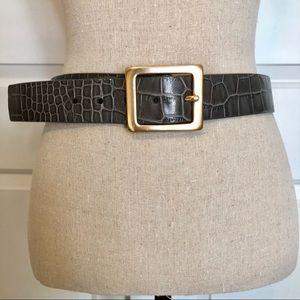 Via Spiga Gray Leather Belt w/ Solid Brass Buckle
